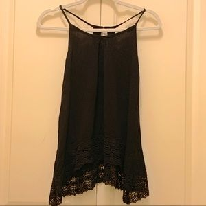 Black tank top with lace-patterned trim